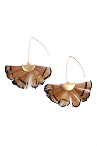 S4-4-3-AHDE2160LBR LIGHT BROWN BUTTERFLY WINGS THREADER EARRINGS/6PAIRS