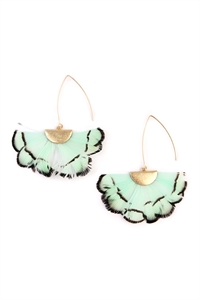 S4-4-3-AHDE2160MN MINT  BUTTERFLY WINGS THREADER EARRINGS/6PAIRS