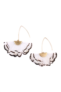 S4-4-3-AHDE2160WT WHITE BUTTERFLY WINGS THREADER EARRINGS/6PAIRS