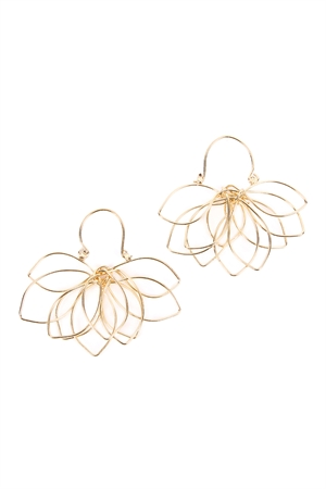 S5-6-4-AHDE2161G GOLD WIRE PETALS EARRINGS/6PAIRS