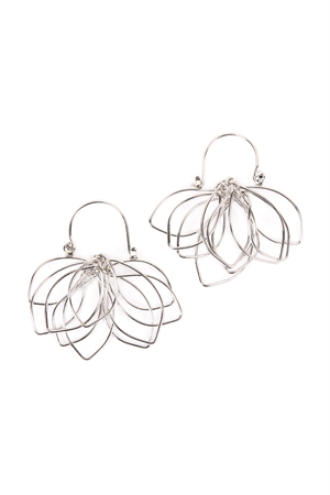 S5-6-4-AHDE2161R SILVER WIRE PETALS EARRINGS/6PAIRS