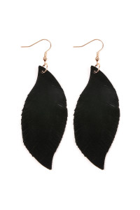 S4-6-4-AHDE2196BK BLACK FRINGE SUEDE LEATHER EARRINGS/6PAIRS