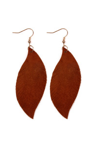 S4-6-4-AHDE2196BR BROWN FRINGE SUEDE LEATHER EARRINGS/6PAIRS