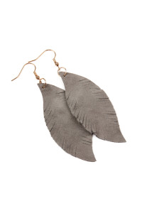 S4-6-3-AHDE2196GY GRAY FRINGE SUEDE LEATHER EARRINGS/6PAIRS