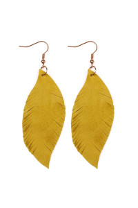S4-6-4-AHDE2196MU MUSTARD FRINGE SUEDE LEATHER EARRINGS/6PAIRS