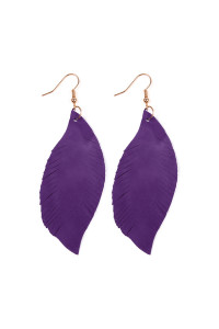 S4-4-2-AHDE2196PU PURPLE FRINGE SUEDE LEATHER EARRINGS/6PAIRS