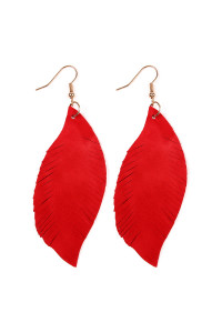 S4-6-3-AHDE2196RD RED FRINGE SUEDE LEATHER EARRINGS/6PAIRS