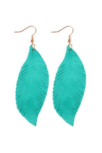 S4-6-4-AHDE2196TL TEAL FRINGE SUEDE LEATHER EARRINGS/6PAIRS