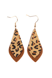 S7-6-3-AHDE2204BR BROWN LEOPARD MARQUISE LEATHER DROP EARRINGS/6PAIRS