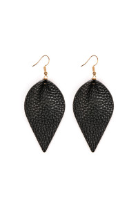 S5-6-3-AHDE2205BK BLACK TEARDROP SHAPE PINCHED LEATHER EARRINGS/6PAIRS