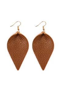 S5-6-3-AHDE2205BR BROWN TEARDROP SHAPE PINCHED LEATHER EARRINGS/6PAIRS