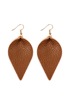 010cfc6ee4bf Quick View this Product S5-6-3-AHDE2205BR BROWN TEARDROP SHAPE PINCHED  LEATHER EARRINGS 6PAIRS