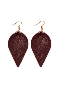 S4-6-2-AHDE2205BU BURGUNDY TEARDROP SHAPE PINCHED LEATHER EARRINGS/6PAIRS