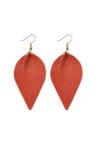 S4-4-2-AHDE2205CO CORAL TEARDROP SHAPE PINCHED LEATHER EARRINGS/6PAIRS