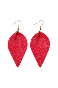 S4-6-2-AHDE2205FS FUCHSIA TEARDROP SHAPE PINCHED LEATHER EARRINGS/6PAIRS