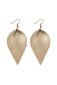 S5-6-3-AHDE2205G GOLD TEARDROP SHAPE PINCHED LEATHER EARRINGS/6PAIRS