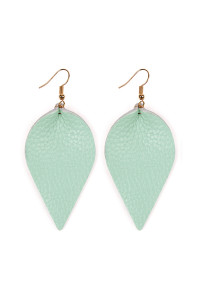SA4-1-4-AHDE2205LMN LIGHT MINT TEARDROP SHAPE PINCHED LEATHER EARRINGS/6PAIRS
