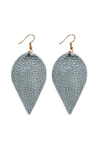 SA4-1-4-AHDE2205MBL METALLIC BLUE TEARDROP SHAPE PINCHED LEATHER EARRINGS/6PAIRS