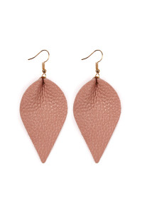 S5-6-2-AHDE2205PK PINK TEARDROP SHAPE PINCHED LEATHER EARRINGS/6PAIRS
