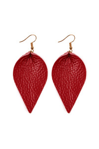 S5-6-2-AHDE2205RD RED TEARDROP SHAPE PINCHED LEATHER EARRINGS/6PAIRS