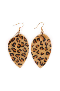 S4-6-2-AHDE2206BR BROWN LEOPARD LEATHER DROP EARRINGS/6PAIRS