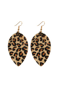 S4-5-2-AHDE2206LBR LIGHT BROWN LEOPARD LEATHER DROP EARRINGS/6PAIRS
