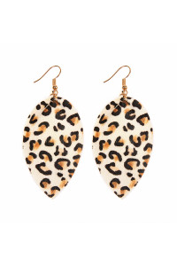 S4-6-2-AHDE2206WT WHITE LEOPARD LEATHER DROP EARRINGS/6PAIRS