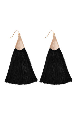 S6-5-2-AHDE2228BK BLACK OVERSIZED TASSEL EARRINGS EARRINGS/6PAIRS