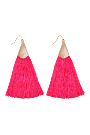 S6-5-2-AHDE2228FU FUCHSIA OVERSIZED TASSEL EARRINGS EARRINGS/6PAIRS