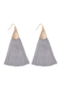 S6-5-2-AHDE2228GY GRAY OVERSIZED TASSEL EARRINGS EARRINGS/6PAIRS