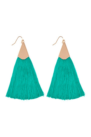 S6-6-3-AHDE2228TQ - OVERSIZED TASSEL EARRINGS EARRINGS - TURQUOISE/6PCS