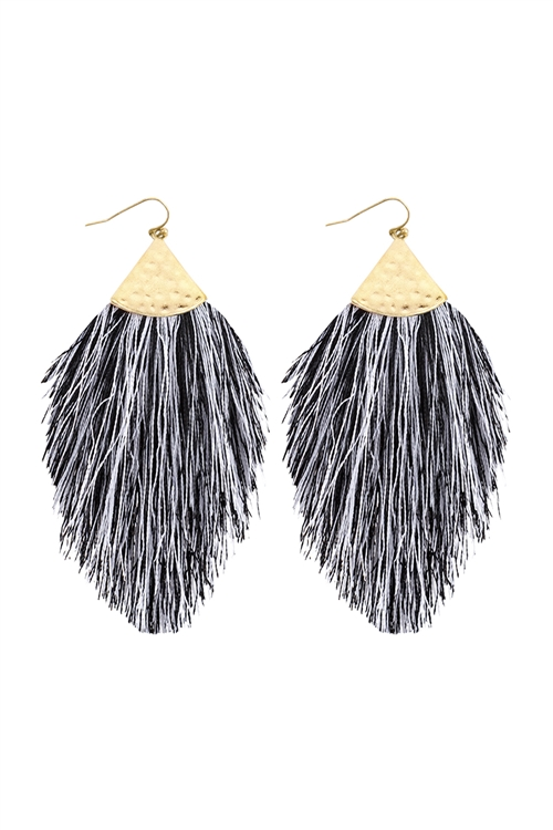 A2-1-5-HDE2232BGY WHITE GRAY TASSEL WITH HAMMERED METAL HOOK DROP EARRINGS/6PAIRS