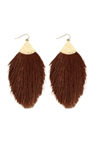 SA3-3-3-HDE2232BR BROWN TASSEL DROP EARRING/6PAIRS