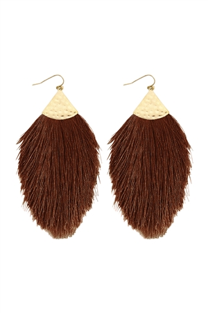 SA3-3-3-AHDE2232BR BROWN TASSEL DROP EARRING/6PAIRS