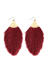 A2-3-2-AHDE2232BU BURGUNDY TASSEL DROP EARRINGS/6PAIRS
