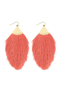 S5-6-3-AHDE2232CO CORAL OVERSIZED TASSEL DROP EARRINGS/6PAIRS