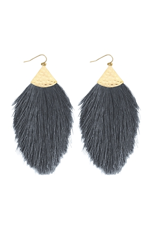 S5-4-3-AHDE2232DGY DARK GRAY TASSEL DROP EARRINGS/6PAIRS
