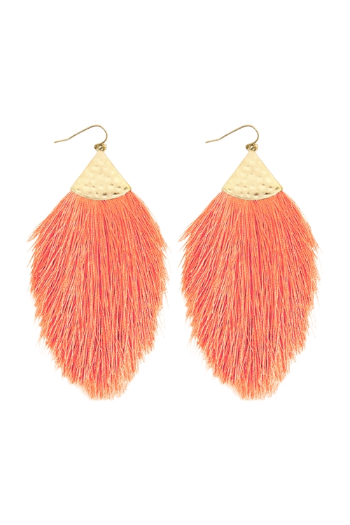 A2-3-2-AHDE2232DSAL DARK SALMON TASSEL WITH HAMMERED METAL HOOK DROP EARRINGS/6PAIRS