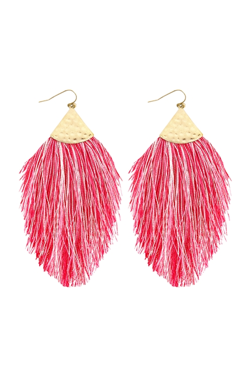 A2-1-5-HDE2232FSMT FUCHSIA MULTI COLOR TASSEL WITH HAMMERED METAL HOOK DROP EARRINGS/6PAIRS
