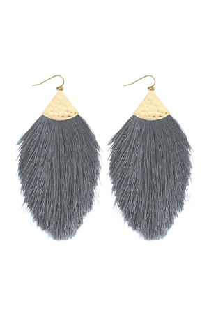 S6-5-4-AHDE2232GY GRAY TASSEL DROP EARRINGS/6PAIRS