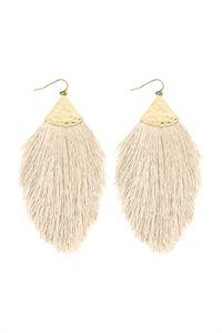 S7-5-2-AHDE2232IV WHITE OVERSIZED TASSEL DROP EARRINGS/6PAIRS