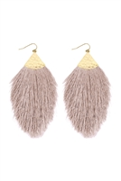 S5-5-2-AHDE2232LBR LIGHT BROWN OVERSIZED TASSEL DROP EARRINGS/6PAIRS