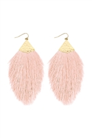 A3-3-2-AHDE2232LPK LIGHT PINK TASSEL WITH HAMMERED METAL HOOK DROP EARRINGS/6PAIRS