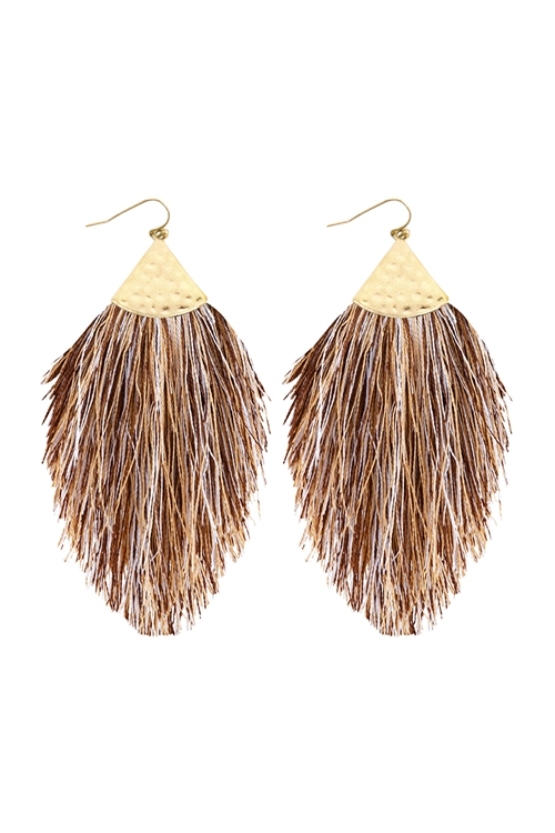 A2-3-4-HDE2232MBR MULTI COLOR BROWN TASSEL WITH HAMMERED METAL HOOK DROP EARRINGS/6PAIRS