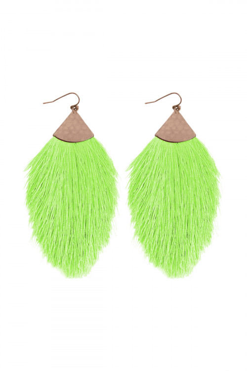 A3-3-2-AHDE2232NGR NEON GREEN TASSEL WITH HAMMERED METAL HOOK DROP EARRINGS/6PAIRS