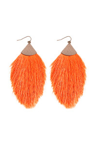 A3-2-3-AHDE2232NOR NEON ORANGE TASSEL WITH HAMMERED METAL HOOK DROP EARRINGS/6PAIRS