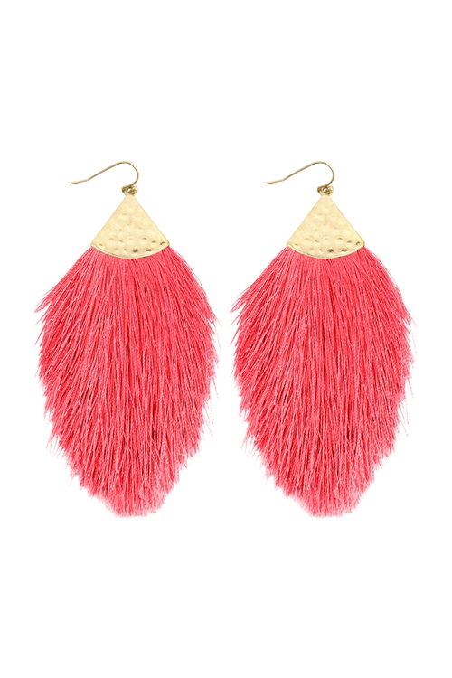 A3-3-2-AHDE2232NPK NEON PINK TASSEL WITH HAMMERED METAL HOOK DROP EARRINGS/6PAIRS