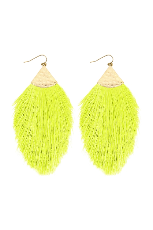 A3-2-3-AHDE2232NYEL NEON YELLOW TASSEL WITH HAMMERED METAL HOOK DROP EARRINGS/6PAIRS