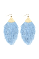 A3-3-2-AHDE2232PER LIGHT BLUE TASSEL WITH HAMMERED METAL HOOK DROP EARRINGS/6PAIRS