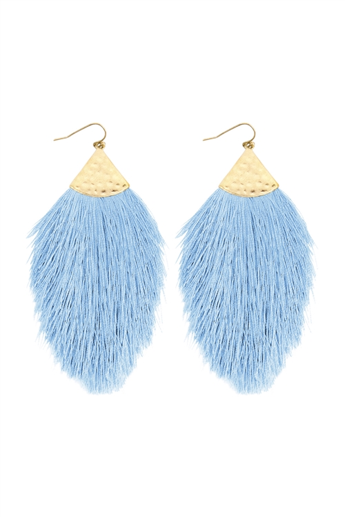A3-3-2-HDE2232PER LIGHT BLUE TASSEL WITH HAMMERED METAL HOOK DROP EARRINGS/6PAIRS